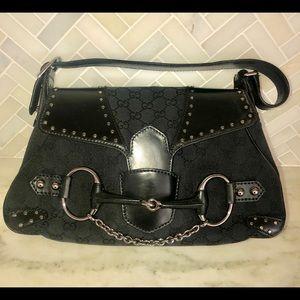 Gucci Black Hobo GG Canvas & Leather Shoulder Bag